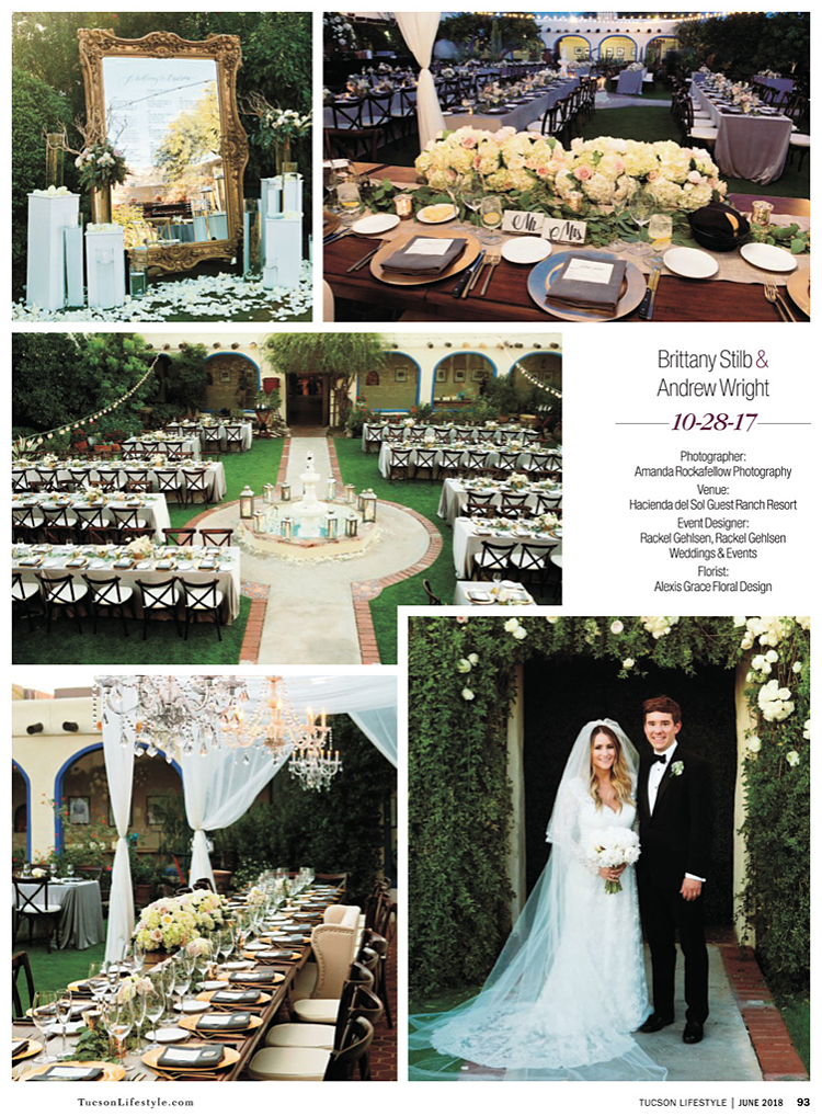 Featured wedding in the June issue of Tucson Lifestyle magazine.